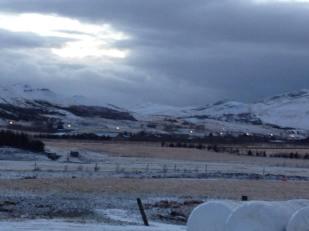 Snow falling on Laxnes Horse Farm, Iceland